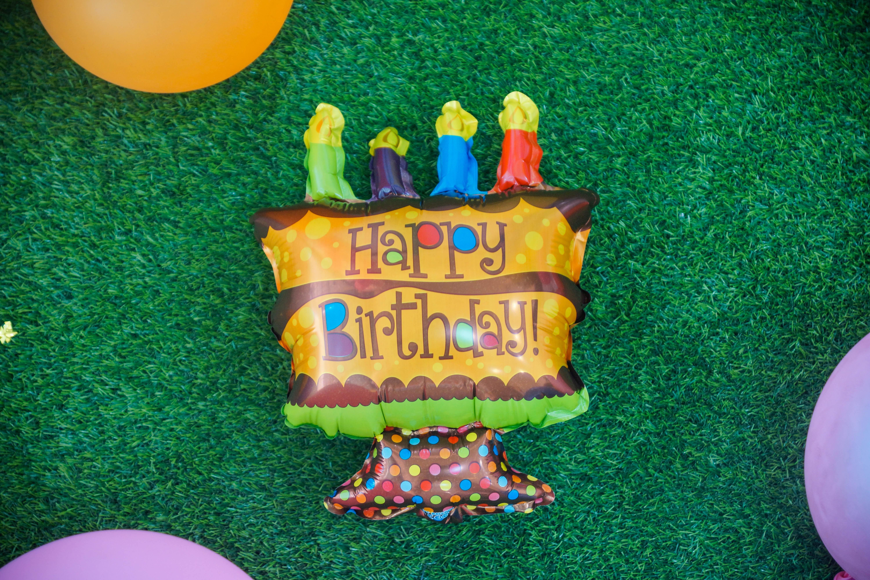 ลูกโป่งฟอร์ยรูปเค็ก Happy birthday ขนาด 7x12 นิ้ว