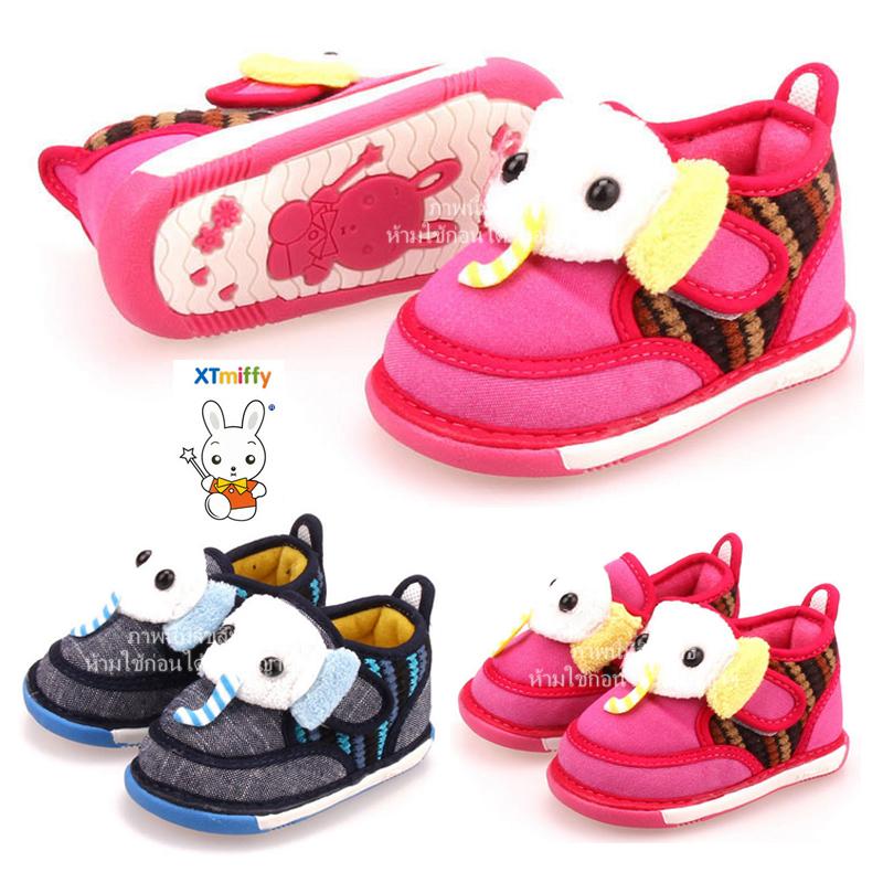 [รุ่นบุเนื้อนิ่ม ลายช้าง] รองเท้าเด็ก XTmiffy
