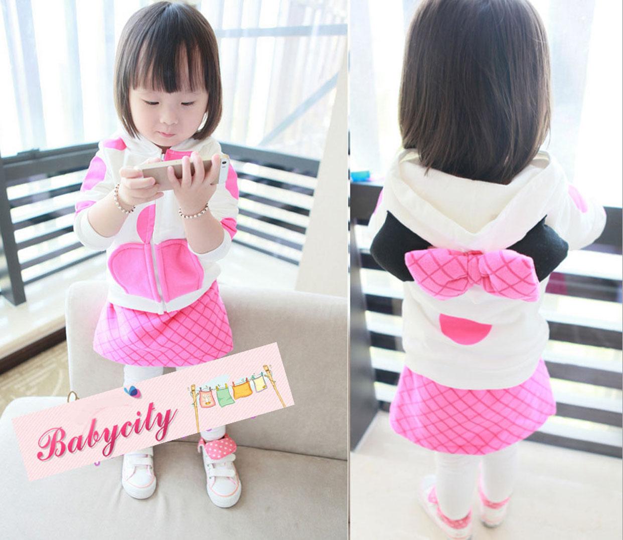 BabyCity ชุดเสื้อมีฮูทพร้อมกางเกงกระโปรงสไตล์มินนี่