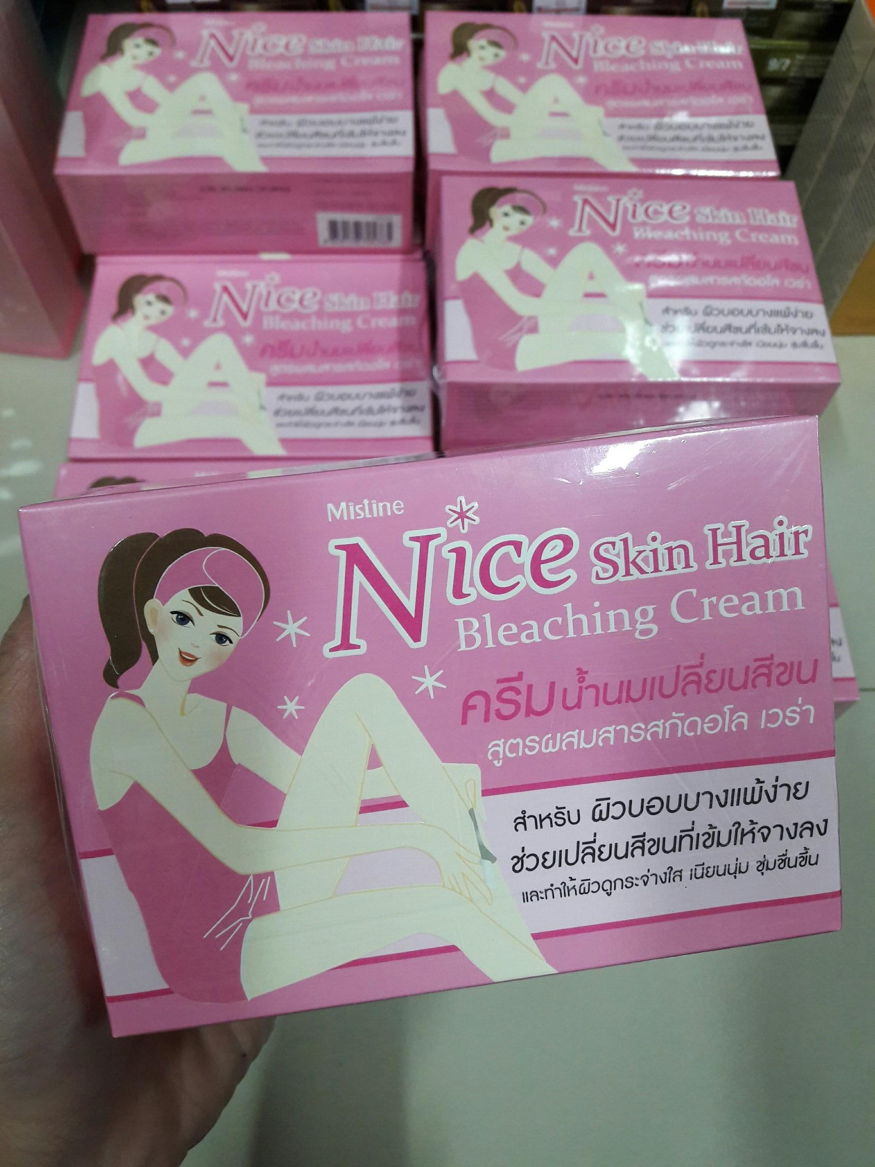 ครีมน้ำนมเปลี่ยนสีขน มิสทีน ไนซ์ สกิน แฮร์ บลีชชิ่ง ครีม Mistine Nice Skin Hair Bleaching Cream