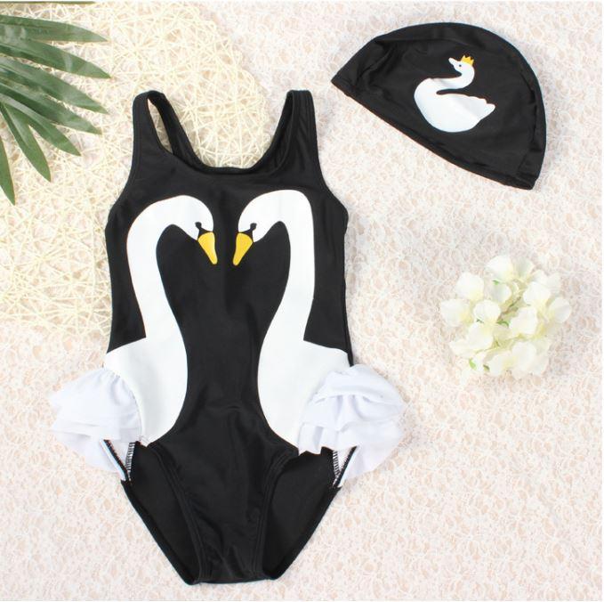 ชุดว่ายน้ำเด็กผู้หญิงสีดำ ลายหงส์สีขาว พร้อมหมวก