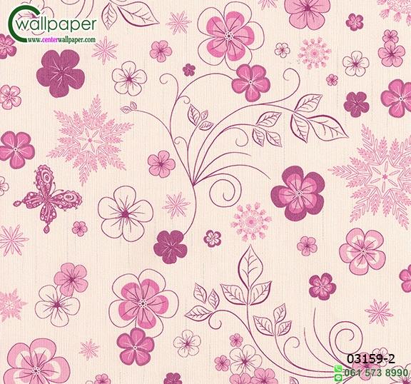 วอลเปเปอร์ติดผนัง ราคาถูก ลายดอกไม้สีชมพู