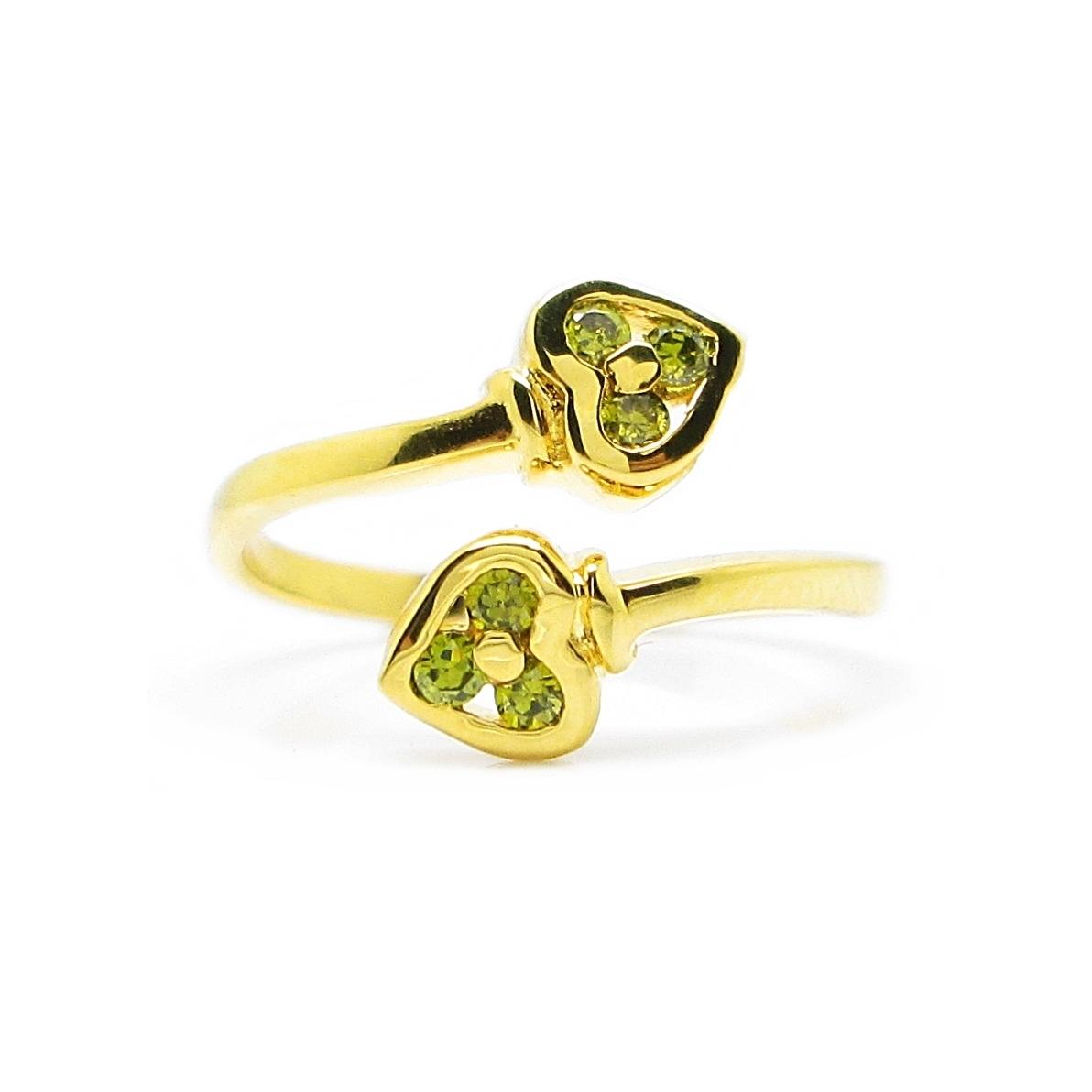 แหวนฟรีไซส์หัวใจประดับพลอยสีเขียวส่องชุบทอง