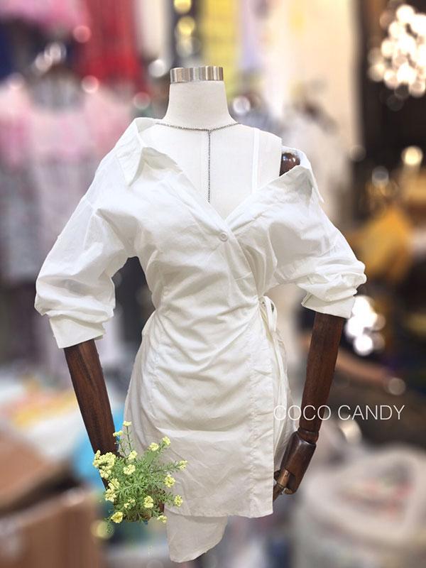 เสื้อเชิ้ตแฟชั่น Korea One Shoulder Strap Long Shirt