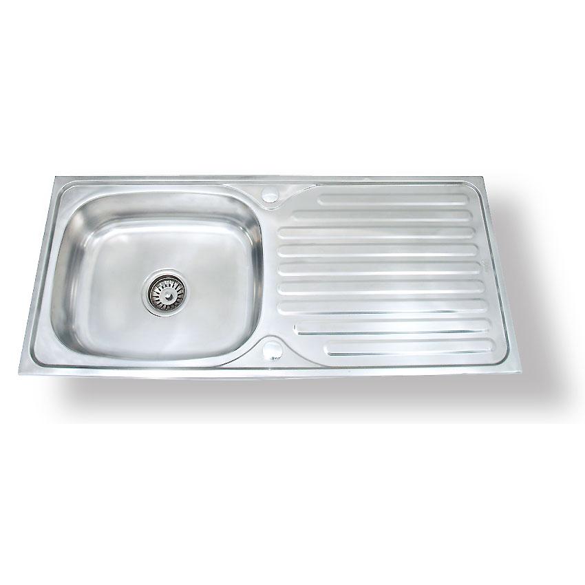 FS-9643-J ซิ้งค์ล้างจาน หนึ่งหลุม สแตนเลส sink มีที่พักจาน หนา 0.7mm.