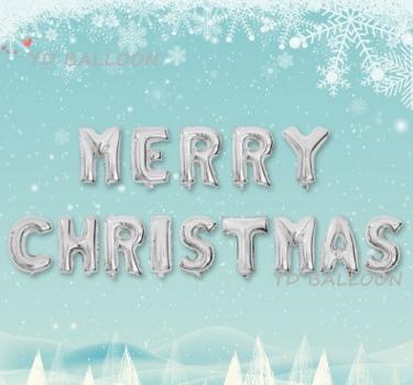 MERRY CHRISTMAS [ยกเซต] ขนาด 16 นิ้ว - สีเงิน