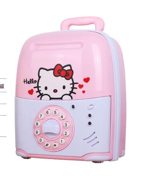ออมสินตู้เซฟดูดแบงค์อัตโนมัติ รูปทรงใหม่ (กระเป๋าเดินทาง) สีชมพู #Kitty