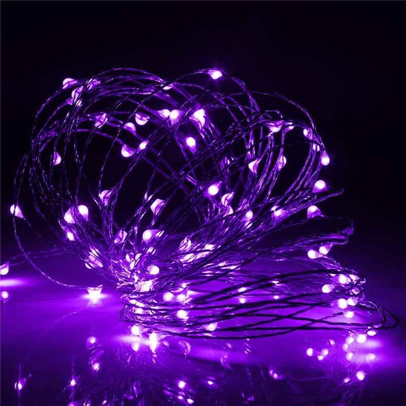 ไฟแฟรี่ ไฟลวด LED ตกแต่ง หักงอได้ ยาว 10 เมตร สีม่วง