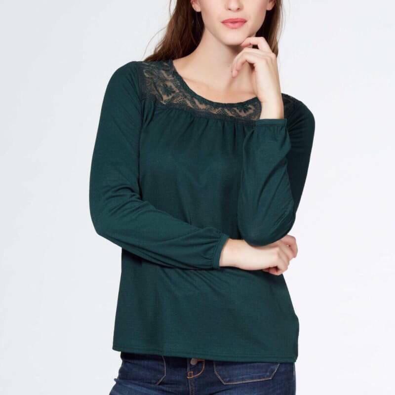 (ไซส์ XL หน้าอก 46-48 ยาว 28 นิ้ว) เสื้อยืดช่วงคอเสื้อเย็บคอลูกไม้ สีเขียวแขนยาว ยี่ห้อ kiabi ทรงหลวมๆใส่สบายๆ ผ้านิ่มๆใส่สบายๆคะ สำเนา สำเนา