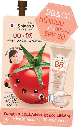 SMOOTO TOMATO COLLAGEN BB&CC CREAM(BB&CC หน้าเนียน สว่างอมชมพู SPF30)