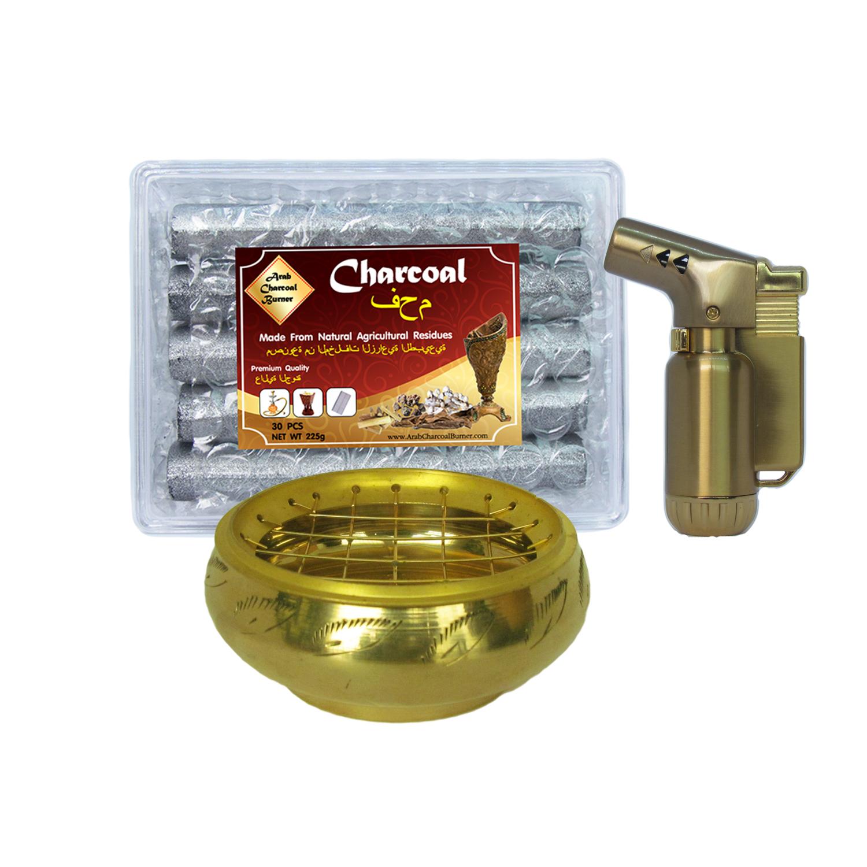 เตาเผาไม้หอม กระถางธูป + ถ่านพิเศษ ชาโคล สำหรับจุดไฟเผา 1 กล่อง + ไฟแช็คไอพ่น ไฟฟู่ คุณภาพสูง 1 ชิ้น
