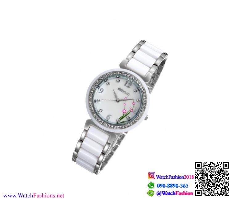 นาฬิกาข้อมือแฟชั่นนำเข้า ผู้หญิง WEIQIN หน้าปัดดอกไม้ สีเงิน กันน้ำ + มีประกัน