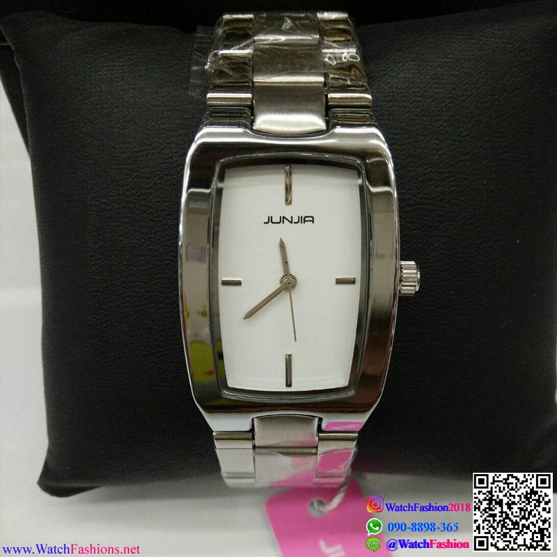 นาฬิกาข้อมือแฟชั่นนำเข้า ผู้หญิง JUNJIA สีเงิน กันน้ำ + ของแท้