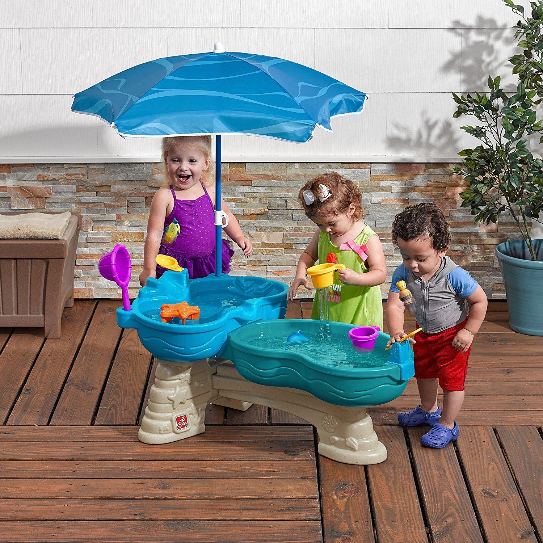 โต๊ะเล่นน้ำ ขนาดใหญ่ Step 2 Spill & Splash Seaway Water Table น้ำตก 2 ชั้น พร้อมร่มกันเเดด ออกใหม่ล่าสุด