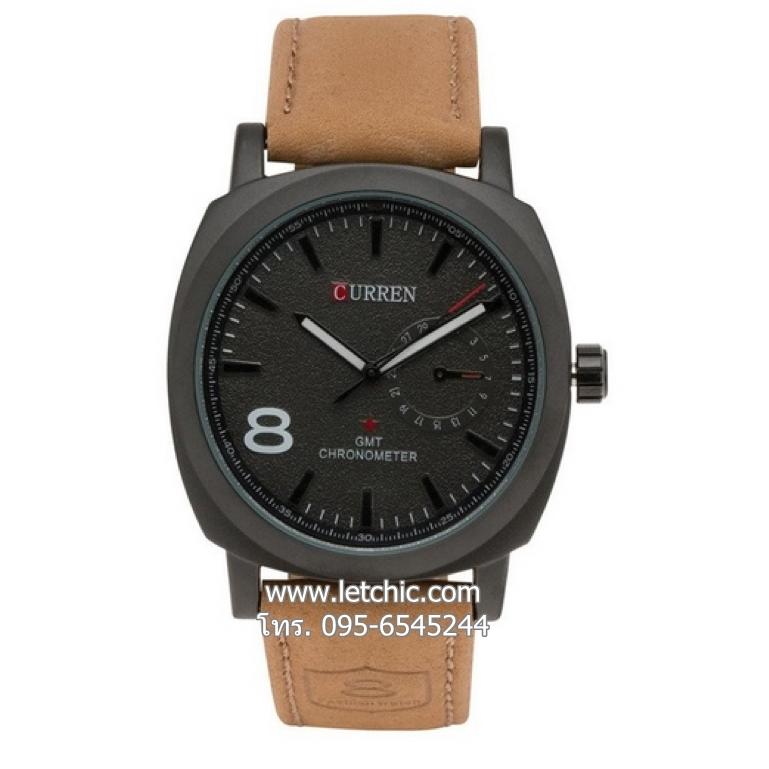 นาฬิกา Curren นาฬิกาข้อมือ unisex สายหนัง รุ่น M8139 BK BRN - สีดำ ของแท้ รับประกันศูนย์ 1 ปี ราคาพิเศษ ราคาถูกที่สุดน้ำตาล