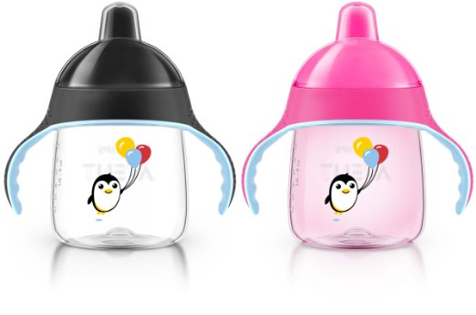 ถ้วยหัดดื่ม Philips AVENT My Penguin Sippy Cup, Pink, 7 Ounce (Pack of 2) ลายเพนกวิน