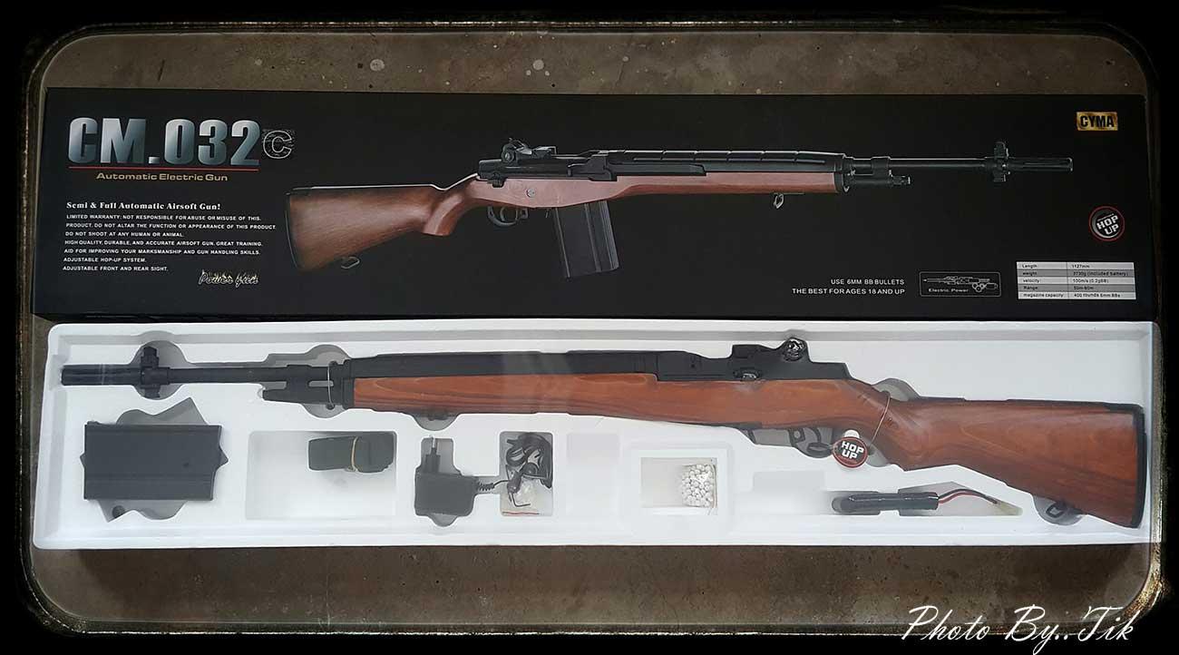 ปืนอัดลม ระบบไฟฟ้า รุ่น M14 ไฟฟ้า จาก Cyma CM032C ไม้เทียม