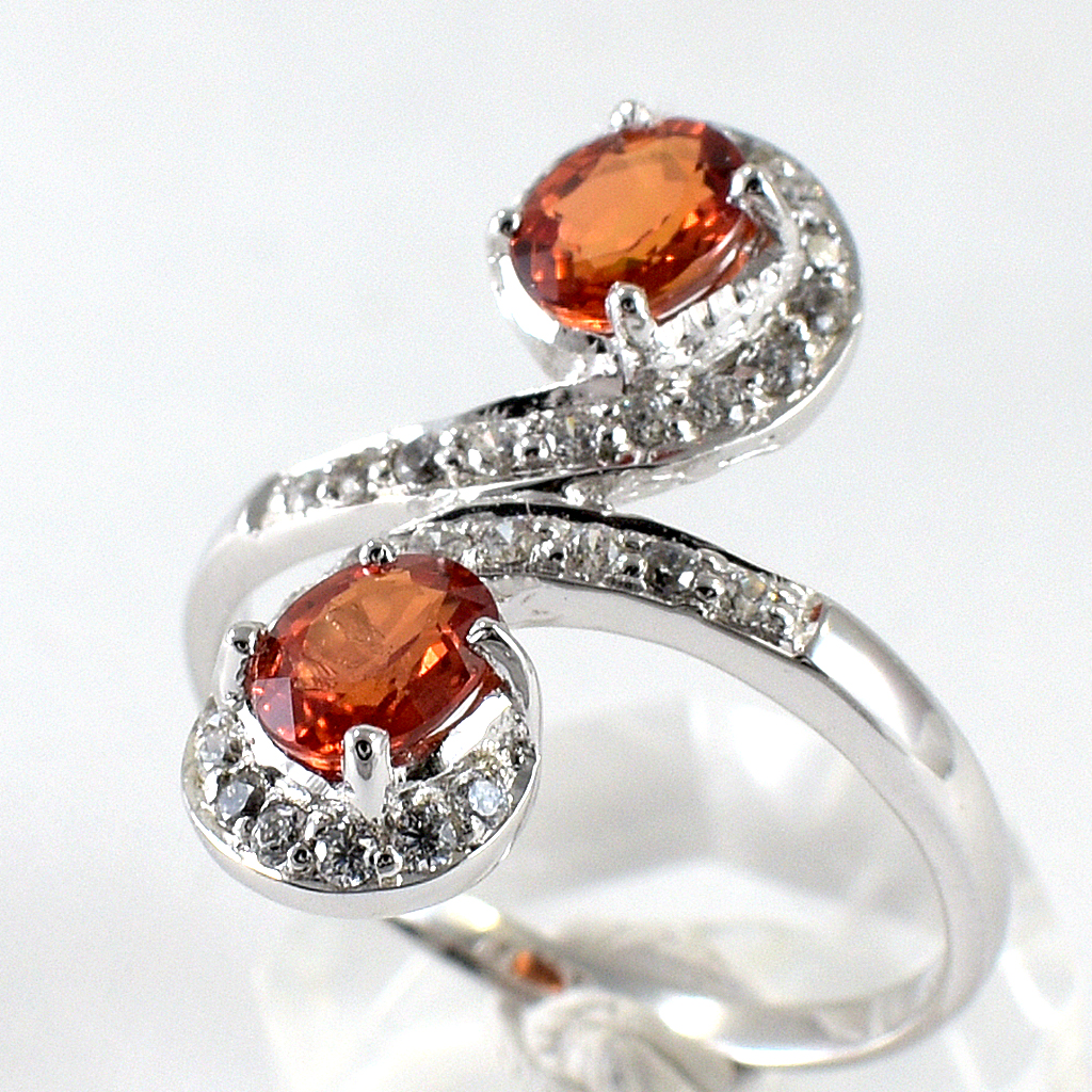 แหวนพลอยผู้หญิงเงินแท้ 92.5 เปอร์เซ็น ฝังด้วยพลอยบุษราคัมแท้สีส้ม