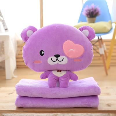 หมอนผ้าห่ม ลายเจ้าหมีน้อยหัวโต สีม่วง