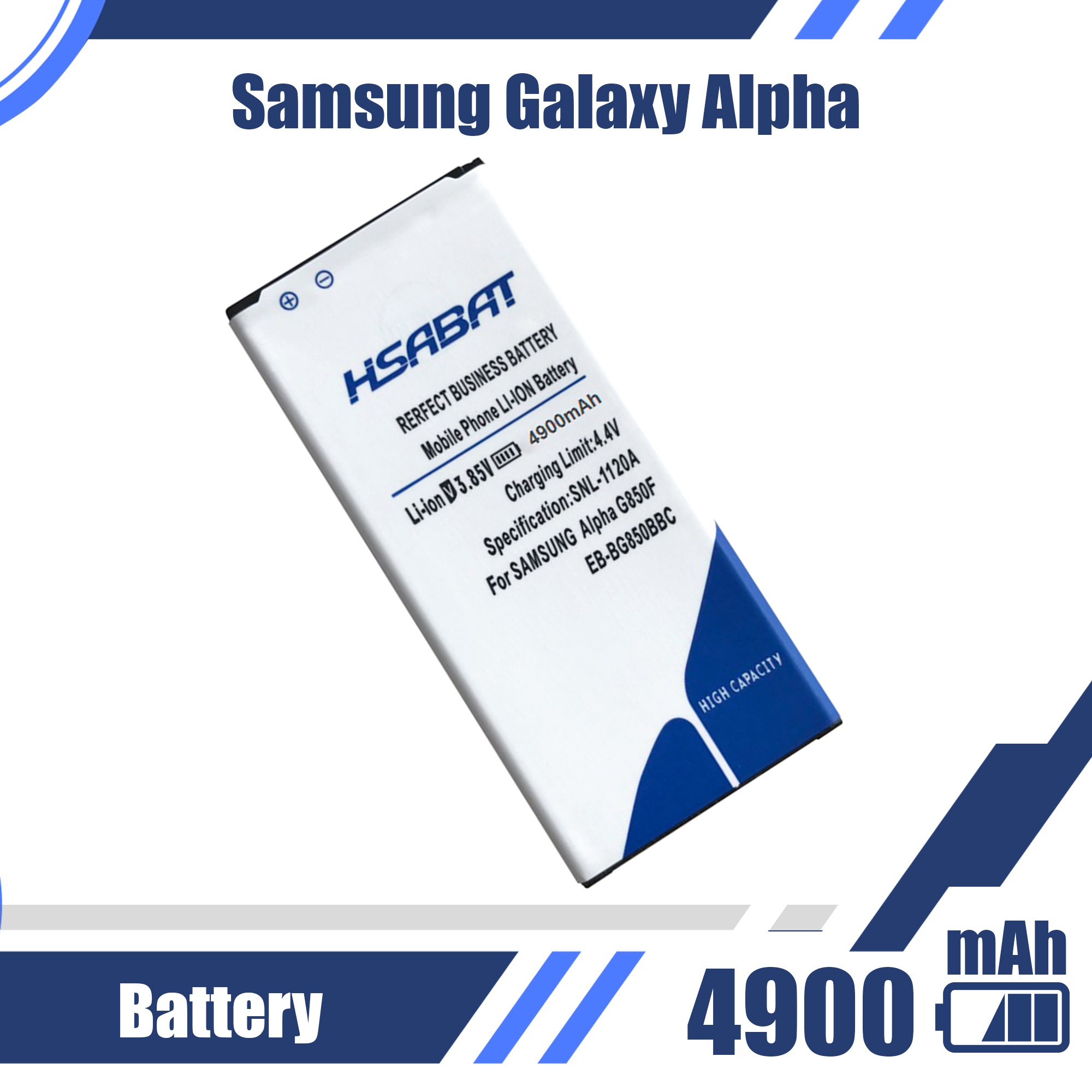 4900mAh EB-BG850BBC Battery for Samsung Galaxy Alpha G850F G8508S G8509V G850 G8508 G850T G850V G850M