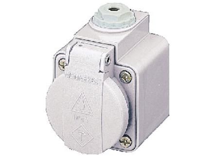 ปลั๊กตัวเมียแบบติดผนัง Wall mounted receptacles SCHUKO ํ IP44 16Amp ขั้ว 2+E 230V