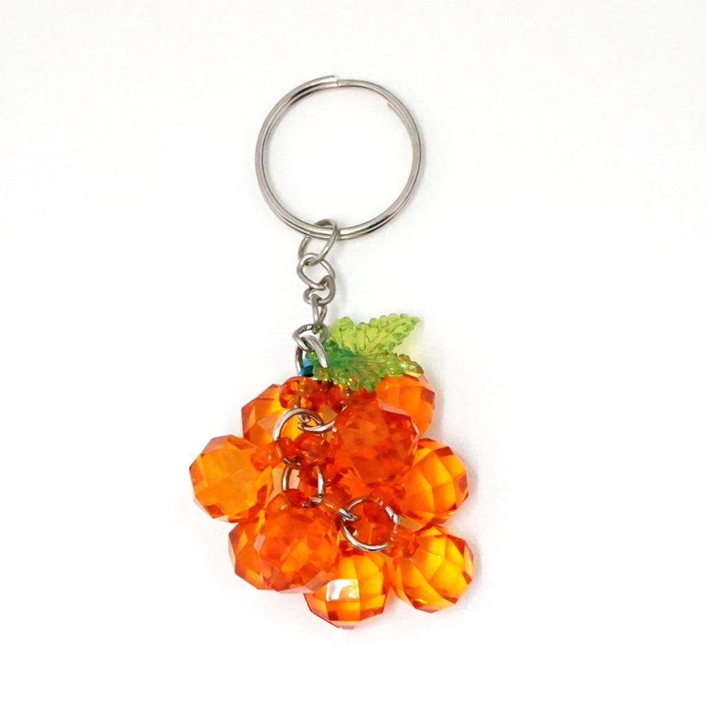 พวงกุญแจคริสตัล สีส้ม 12อัน