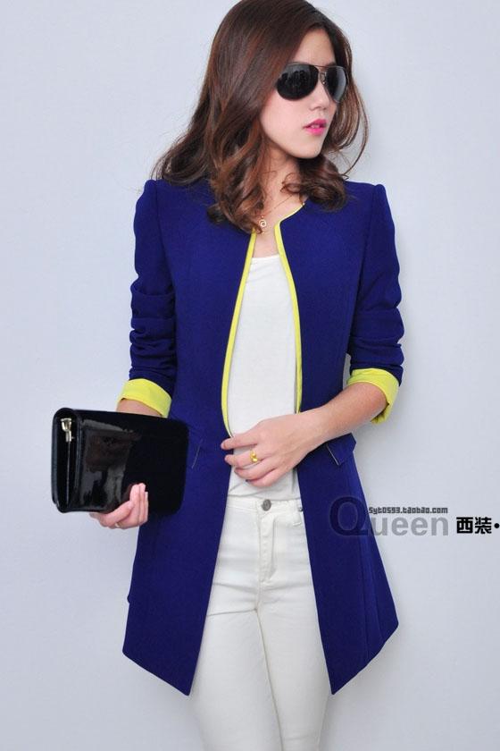 เสื้อสูทแฟชั่น พร้อมส่ง แขนยาว สีน้ำเงิน แต่งปลายแขนเสื้อสีเหลืองสดใส