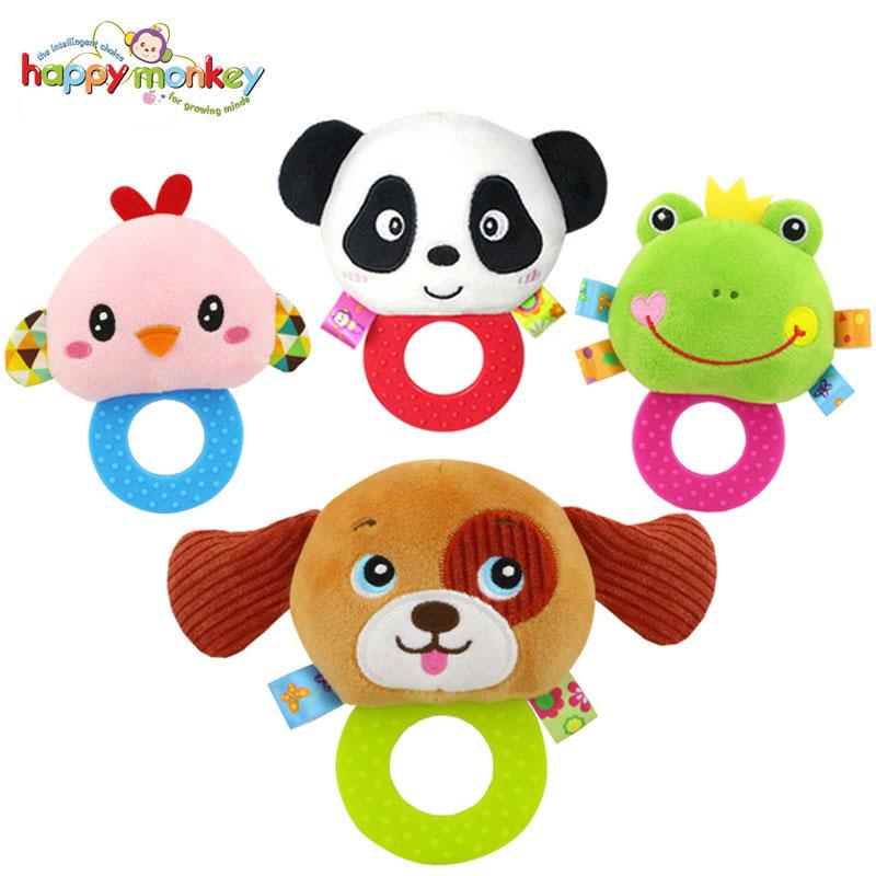 ตุ๊กตาผ้านุ่มนิ่มเสริมพัฒนาการ ยางกัด บีบ-เขย่า มีเสียง Happy Monkey
