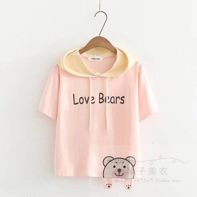เสื้อยืดแขนสั้นมีฮู๊ดลายน้องหมีน่ารักๆ แบบสวยค่ะ code : a0037