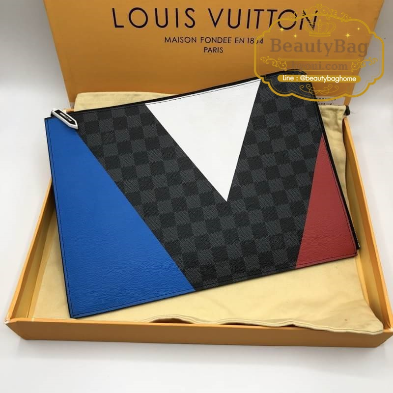 Louis vuitton clutch Damierตารางดำ งานHiend Original