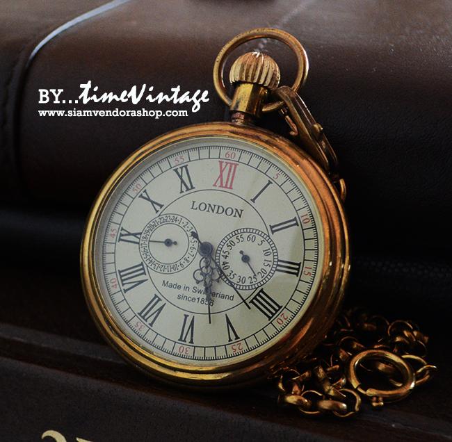 """นาฬิกาไขลานโบราณ classic ดีไซด์ """"London 1856's Antique 5 Hands Mechanical Pocket Watch"""""""