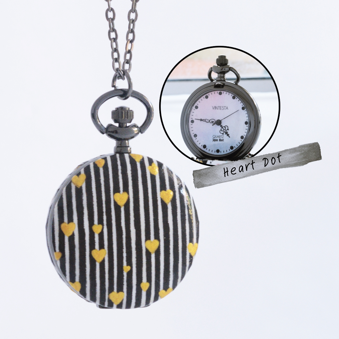 ล็อคเก็ตนาฬิกาสร้อยคอ ขนาดกลาง ลาย Heart Dot ระบบถ่านควอทซ์ญี่ปุ่น (สั่งทำ)
