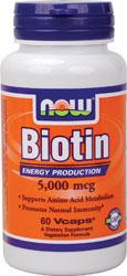 Now Foods - Biotin 5000 mcg 60 V Capsules