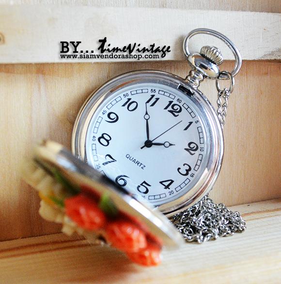 สร้อยคอนาฬิกาประดับคริสตัลดอกไม้ 3 มิติ ระบบถ่านควอทซ์ หน้าปัดอารบิค