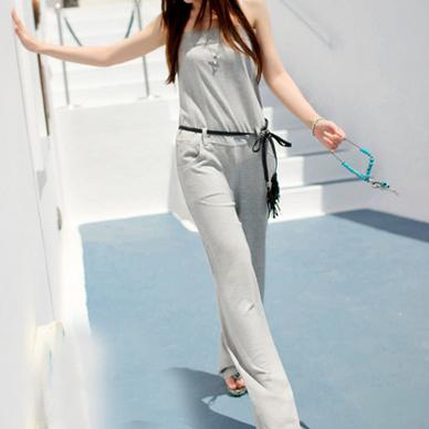 TOTO จั๊มสูทกางเกงขายาวเสื้อสายเดี่ยวปรับได้โทนสีเทา ทรงสบาย ออกสปอร์ตตามแบบนะค่ะ