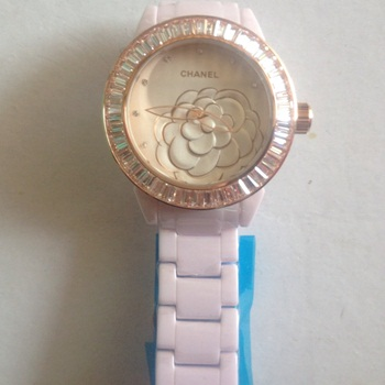 นาฬิกาข้อมือ Chanel J12 Flower Limited Edition 2013 ขอบคริสตัล ชมพู