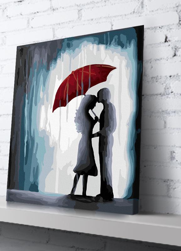 "TE161 ภาพระบายสีตามตัวเลข ""จูบอบอุ่นในสายฝน"""