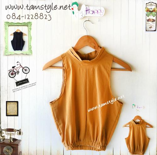 **หมดค่ะTop025-เสื้อแฟชั่นแขนกุด แอบเซ็กซี่ผ่าด้านหลัง รออก 32-35 นิ้ว ยาว 18 นิ้ว สีเหลืองเข้ม ((เสื้อแฟชั่นพร้อมส่ง))