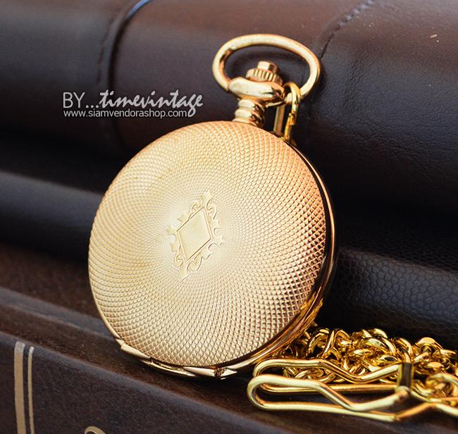นาฬิกาของขวัญพรีเมียมระบบไขลาน สีทองหรูด้านหลังโชว์เครื่องระบบกลไก