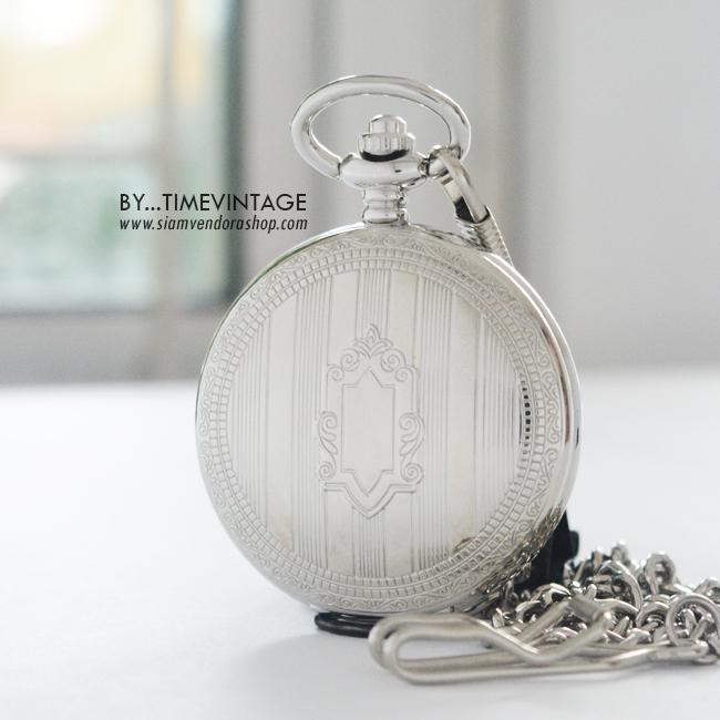 นาฬิกาพกไขลานออโตเมติกสีเงินลายโล่ห์ยาวนาฬิกาพกสไตล์ยุโรป