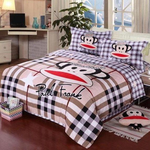 [Preorder] ผ้าปูที่นอน 1 เซ็ทมี 3 ชิ้น (ไซส์ 5 ฟุต, 6 ฟุต หรือ 6.6 ฟุต) ลายตาราง Paul Frank Mouth monkey cotton denim cotton linens clearance free shipping cute cartoon Fitted genuine four sets of bedding