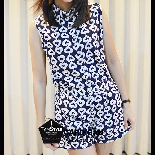 Dress128 - ชุดเสื้อ+กางเกง สีกรม ลาย หัวใจ มี 2 ชิ้น น่ารักจ้า กางเกง เอวประมาน 28 นิ้ว เสื้ออก 34 นิ้วจ้า ((เดรสแฟชั้นพร้อมส่ง))