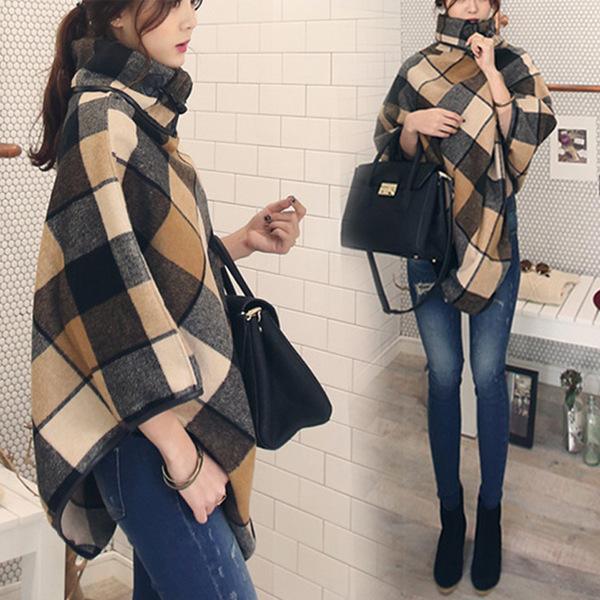 เสื้อโค้ทกันหนาวสไตล์สาวเกาหลี ทรงสามเหลี่ยม เก๋ๆ ลายสก็อต เนื้อผ้าไม่หนามากนะคะ