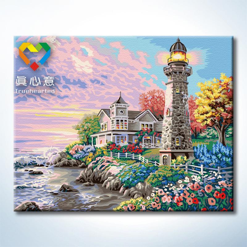 """TG325 ภาพระบายสีตามตัวเลข """"บ้านริมทะเลข้างประภาคารใหญ่"""""""