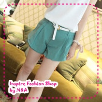 [Preorder] กางเกงขาสั้นแฟชั่นเกาหลีพร้อมเข็มขัดเก๋ๆ สีเขียว 2012 summer new casual and simple solid color shorts color to send the belt