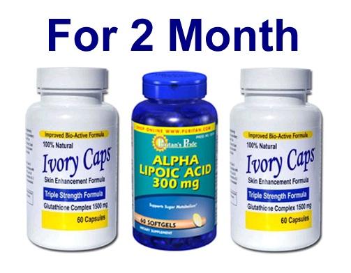 เซตผิวขาวกระจ่างใส - Ivory Caps Lightening Program ผิวขาวครบสูตร (สำหรับ 2 เดือน) เซ็ตคู่ยอดนิยม Ivory Caps 1500 mg 2 ขวด + Puritan ALA 300 mg Softgel 60 เม็ด ผิวขาวกระจ่างใส ลดความหมองคล้ำ ต้านริ้วรอย คุณภาพ อย.USA สำเนา