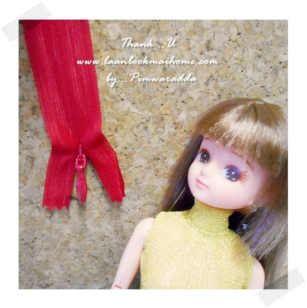 ซิปซ่อนสำหรับชุดตุ๊กตาโทนแดงค่ะ