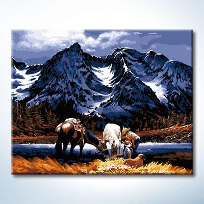 """TG353 ภาพระบายสีตามตัวเลข """"เลี้ยงม้าหน้าเทือกเขาสูง"""""""