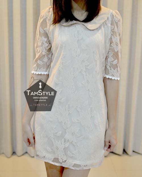 Dress119 - เดรสแฟชั่น เดรสลูกไม้ คอบัวสีโอรสอ่อน มีซับทั้งตัวจ้า อก 36 ((เดรสแฟชั้นพร้อมส่ง))