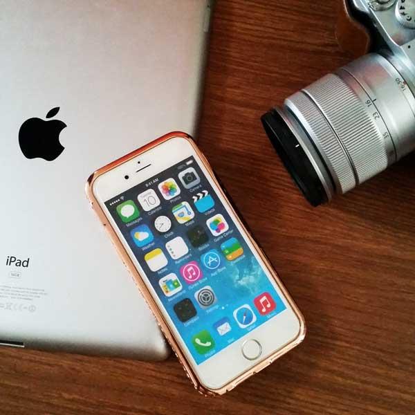 เคสไอโฟน 6/6s ประกบขอบข้าง สีพิ้งโรส
